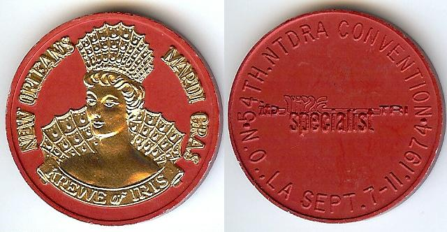 krewe of iris 1974 red silver Dual Color High Relief Aluminum Doubloon